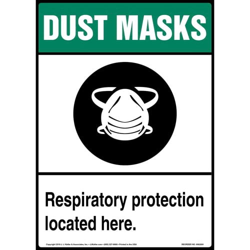 Dust Mask: Respiratory Protection Located Here Sign with Icon (014233)