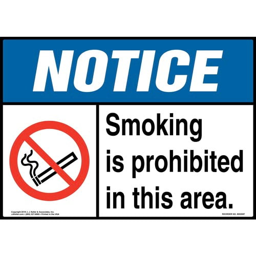 Notice: Smoking Is Prohibited in This Area Sign with Icon - ANSI (014512)