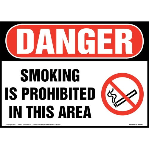 Danger: Smoking Is Prohibited in This Area Sign with Icon - OSHA (014513)