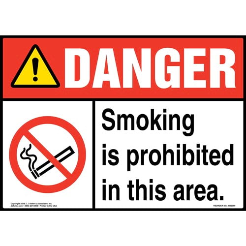 Danger: Smoking Is Prohibited in This Area Sign with Icon - ANSI (014514)