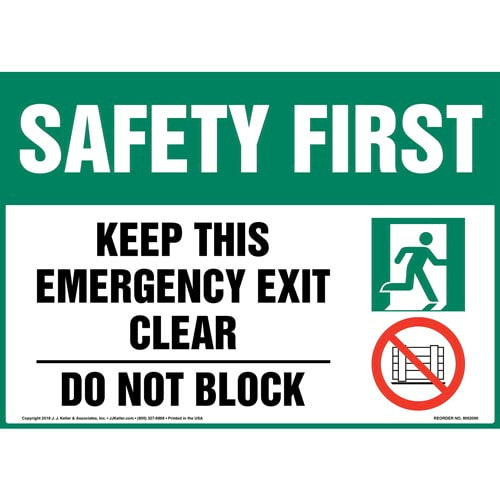Safety First: Keep This Emergency Exit Clear, Do Not Block Sign with Icons - OSHA (014515)