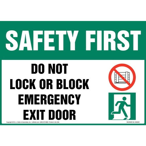 Safety First: Do Not Lock or Block Emergency Exit Door Sign with Icons - OSHA (014516)
