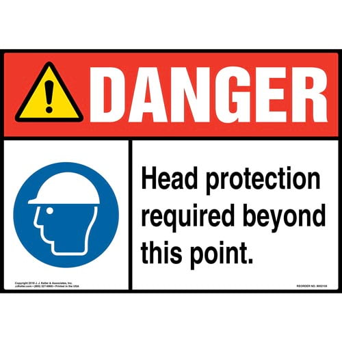 Danger: Head Protection Required Beyond This Point Sign with Icon - ANSI (014456)