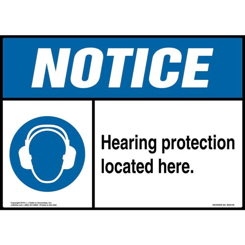 Notice: Hearing Protection Located Here Sign with Icon - ANSI (014457)