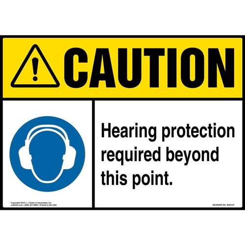 Caution: Hearing Protection Required Beyond This Point Sign with Icon - ANSI (014459)