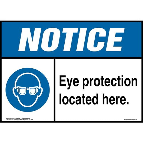 Notice: Eye Protection Located Here Sign with Icon - ANSI (014463)