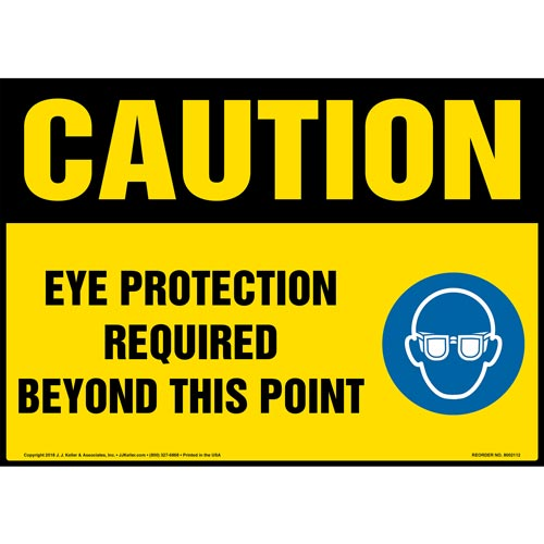 Caution: Eye Protection Required Beyond This Point Sign with Icon - OSHA (014464)