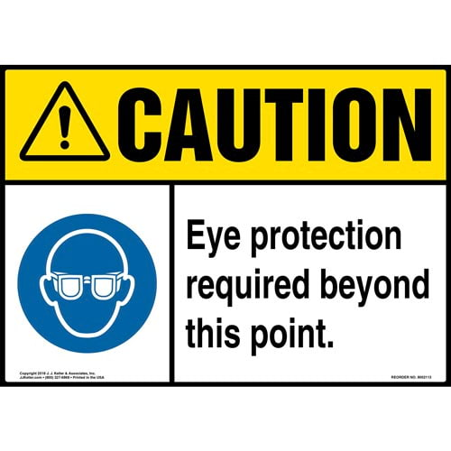 Caution: Eye Protection Required Beyond This Point Sign with Icon - ANSI (014465)