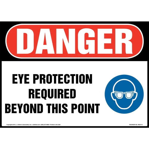 Danger: Eye Protection Required Beyond This Point Sign with Icon - OSHA (014467)