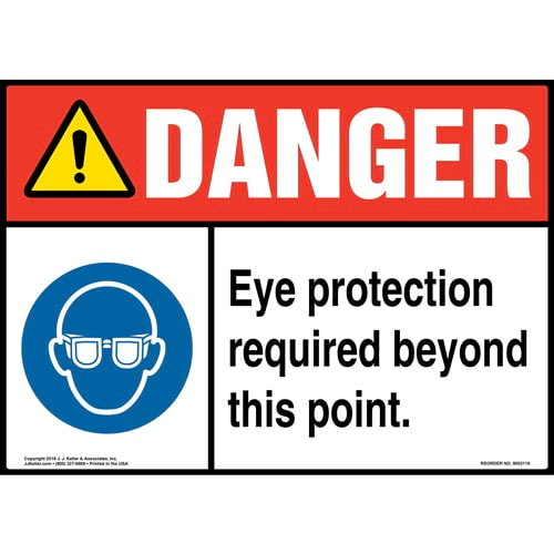 Danger: Eye Protection Required Beyond This Point Sign with Icon - ANSI (014468)
