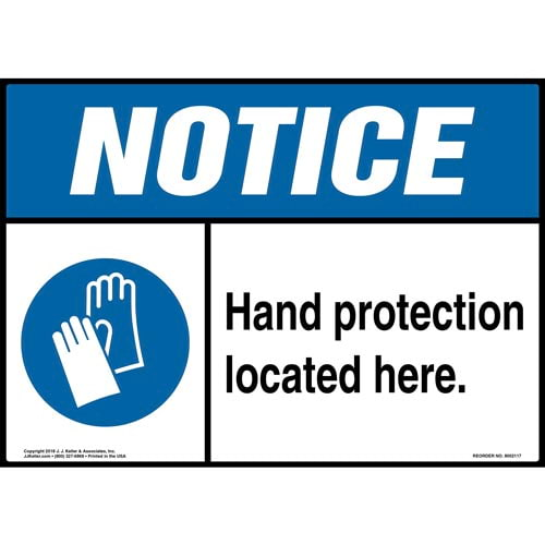 Notice: Hand Protection Located Here Sign with Icon - ANSI (014469)