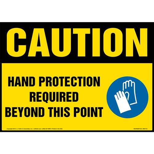 Caution: Hand Protection Required Beyond This Point Sign with Icon - OSHA (014470)