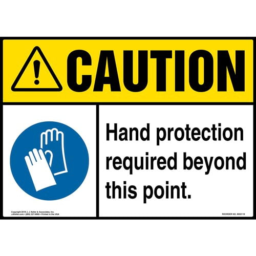 Caution: Hand Protection Required Beyond This Point Sign with Icon - ANSI (014471)