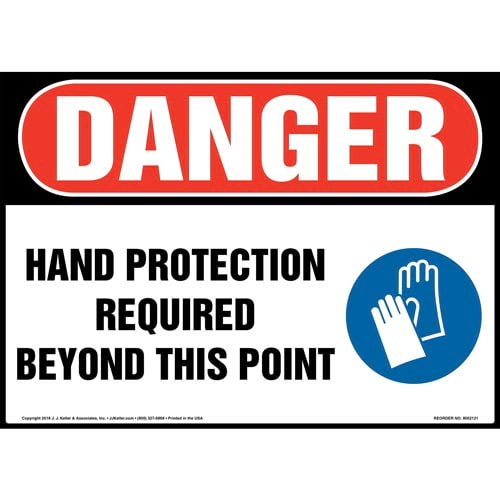 Danger: Hand Protection Required Beyond This Point Sign with Icon - OSHA (014473)