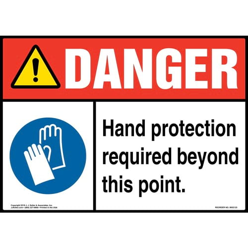 Danger: Hand Protection Required Beyond This Point Sign with Icon - ANSI (014474)