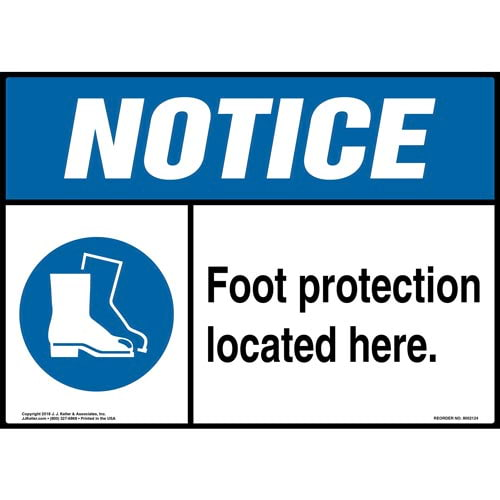 Notice: Foot Protection Located Here Sign with Icon - ANSI (014475)