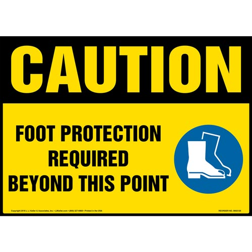Caution: Foot Protection Required Beyond This Point Sign with Icon - OSHA (014476)