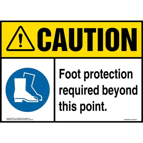 Caution: Foot Protection Required Beyond This Point Sign with Icon - ANSI (014477)