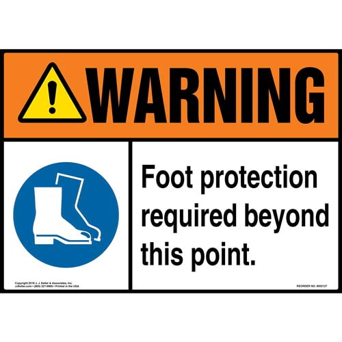 Warning: Foot Protection Required Beyond This Point Sign with Icon - ANSI (014478)