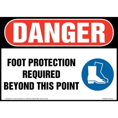 Danger: Foot Protection Required Beyond This Point Sign with Icon - OSHA (014479)