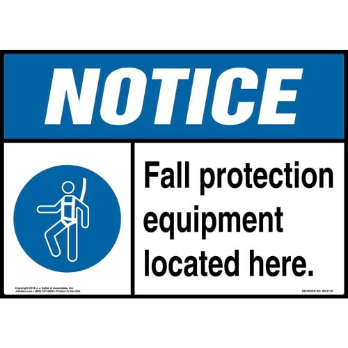 Notice: Fall Protection Equipment Located Here Sign with Icon - ANSI (014481)