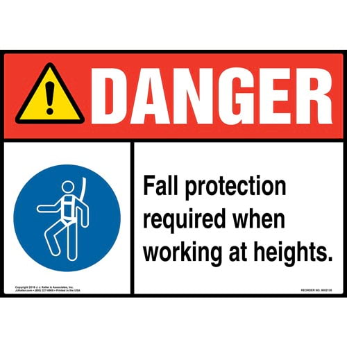 Danger: Fall Protection Required When Working at Heights Sign with Icon - ANSI (014486)