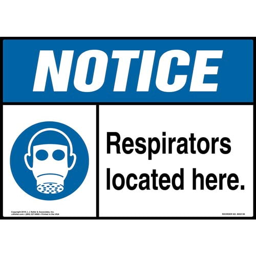 Notice: Respirators Located Here Sign with Icon - ANSI (014487)