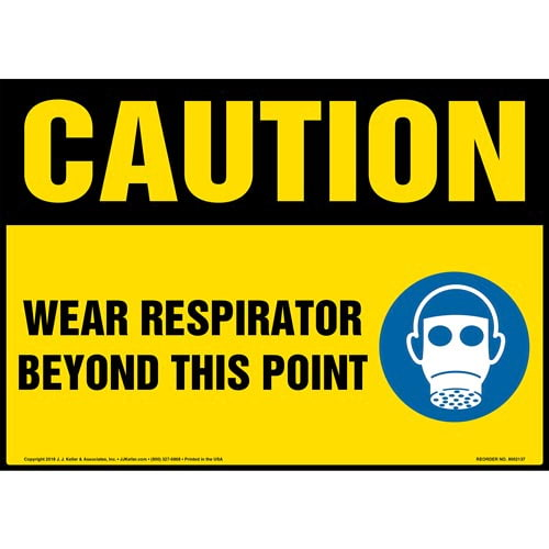 Caution: Wear Respirator Beyond This Point Sign with Icon - OSHA (014488)