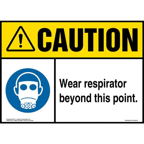 Caution: Wear Respirator Beyond This Point Sign with Icon - ANSI (014489)