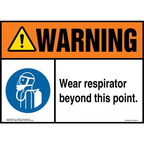 Warning: Wear Respirator Beyond This Point Sign with Icon - ANSI (014491)