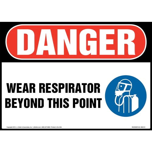Danger: Wear Respirator Beyond This Point Sign with Icon - OSHA (014492)