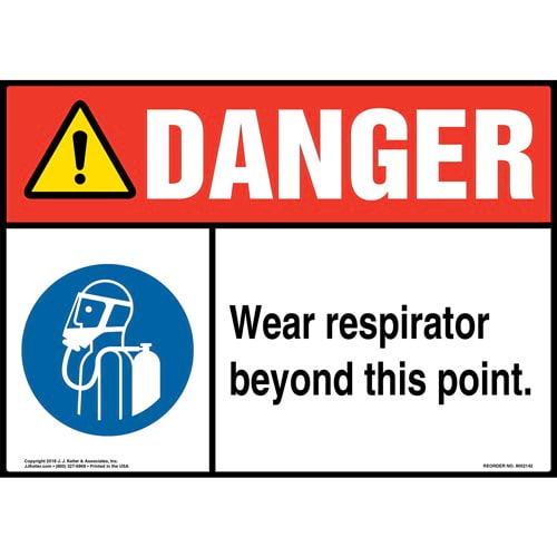 Danger: Wear Respirator Beyond This Point Sign with Icon - ANSI (014493)