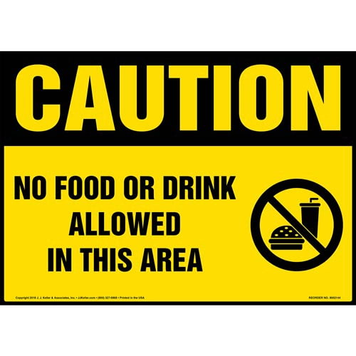 Caution: No Food or Drink Allowed in This Area Sign with Icon - OSHA (014495)