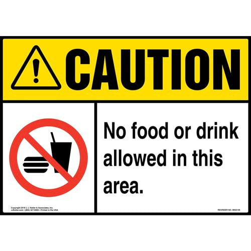 Caution: No Food or Drink Allowed in This Area Sign with Icon - ANSI (014496)