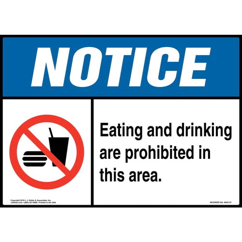 Notice: Eating and Drinking Are Prohibited in This Area Sign with Icon - ANSI (014498)