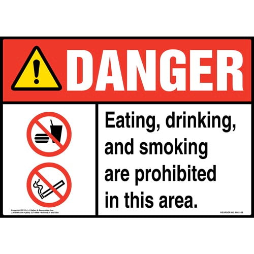 Danger: Eating, Drinking, and Smoking Are Prohibited in This Area Sign with Icons - ANSI (014507)