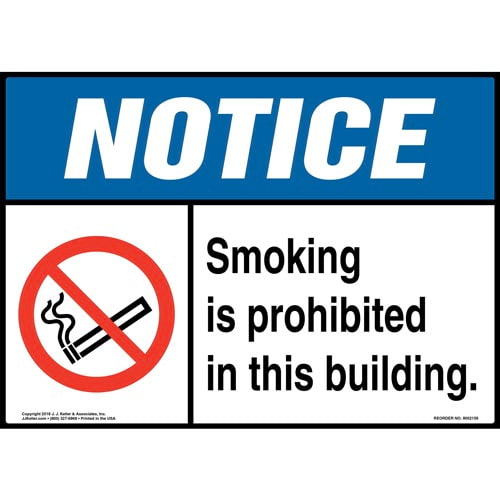 Notice: Smoking Is Prohibited in This Building Sign with Icon - ANSI (014508)