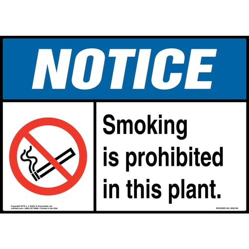 Notice: Smoking Is Prohibited in This Plant Sign with Icon - ANSI (014509)
