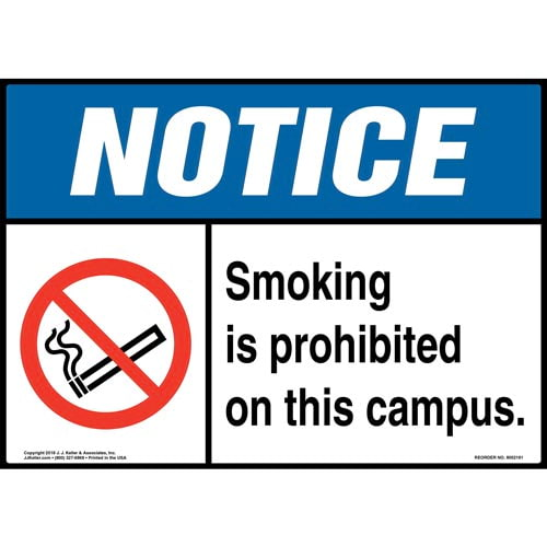 Notice: Smoking Is Prohibited on This Campus Sign with Icon - ANSI (014510)