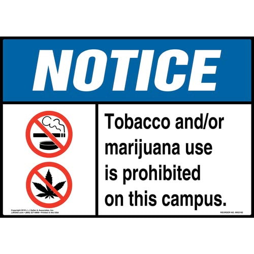 Notice: Tobacco and/or Marijuana Use Is Prohibited on This Campus Sign with Icons - ANSI (014511)