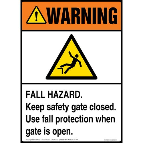 Warning: Fall Hazard, Keep Safety Gate Closed, Use Fall Protection When Gate Is Open Sign with Icon - ANSI (014520)