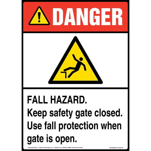 Danger: Fall Hazard, Keep Safety Gate Closed, Use Fall Protection When Gate Is Open Sign with Icon - ANSI (014522)