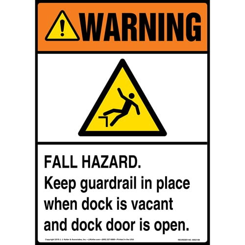 Warning: Fall Hazard, Keep Guardrail in Place When Dock Is Vacant and Dock Door Is Open Sign with Icon - ANSI (014523)