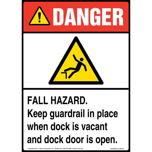 Danger: Fall Hazard, Keep Guardrail in Place When Dock Is Vacant and Dock Door Is Open Sign with Icon - ANSI (014525)
