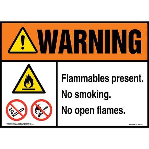 Warning: Flammables Present, No Smoking, No Open Flames Sign with Icons - ANSI (014526)