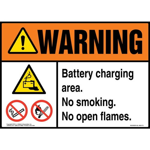 Warning: Battery Charging Area, No Smoking, No Open Flames Sign with Icons - ANSI (014527)