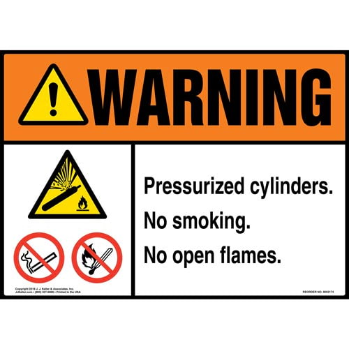 Warning: Pressurized Cylinders, No Smoking, No Open Flames Sign with Icons - ANSI (014529)