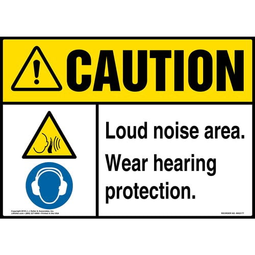 Warning: Loud Noise Area, Wear Hearing Protection Sign with Icons - ANSI (014532)