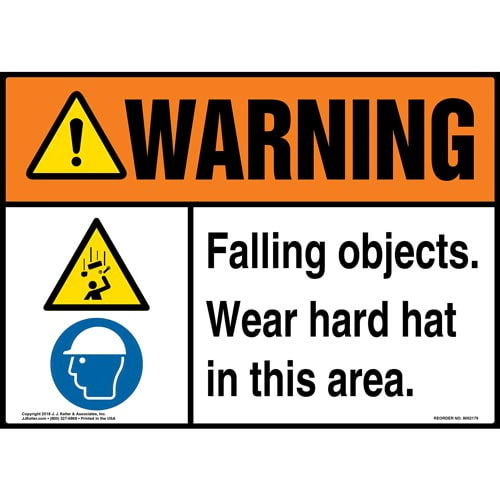 Warning: Falling Objects, Wear Hard Hat in This Area Sign with Icons - ANSI (014534)