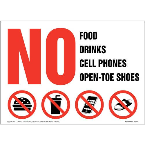 No Food, Drinks, Cell Phones, Open Toe Shoes Sign with Icon (014580)